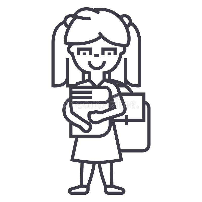 Meisje in school met boek en rugzak vectorlijnpictogram, teken, illustratie op achtergrond, editable slagen stock illustratie