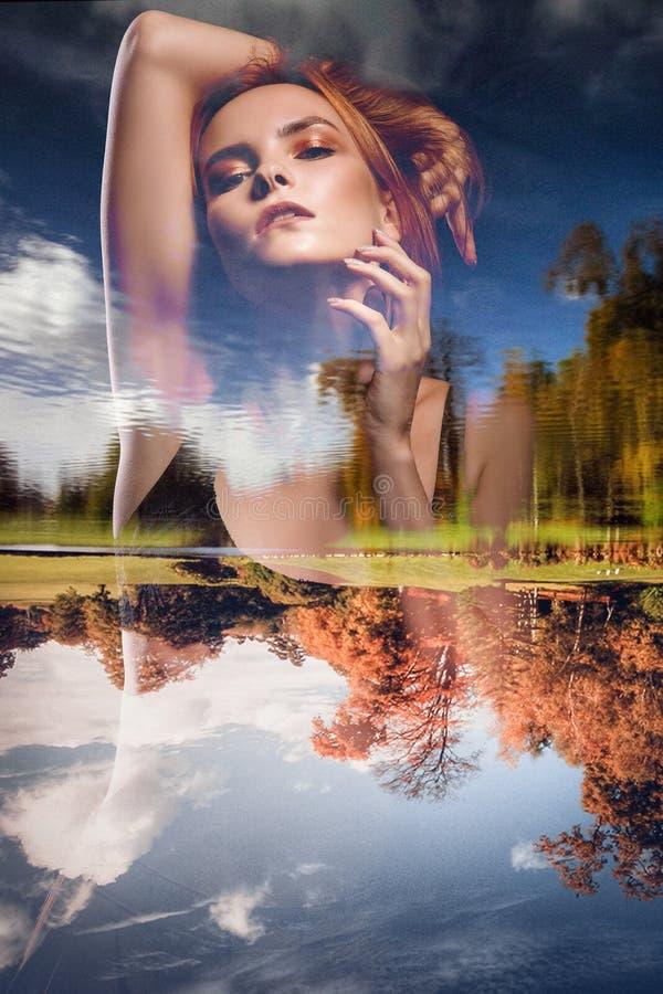 Meisje - seizoenen Dubbele blootstelling De lente, de herfst stock foto