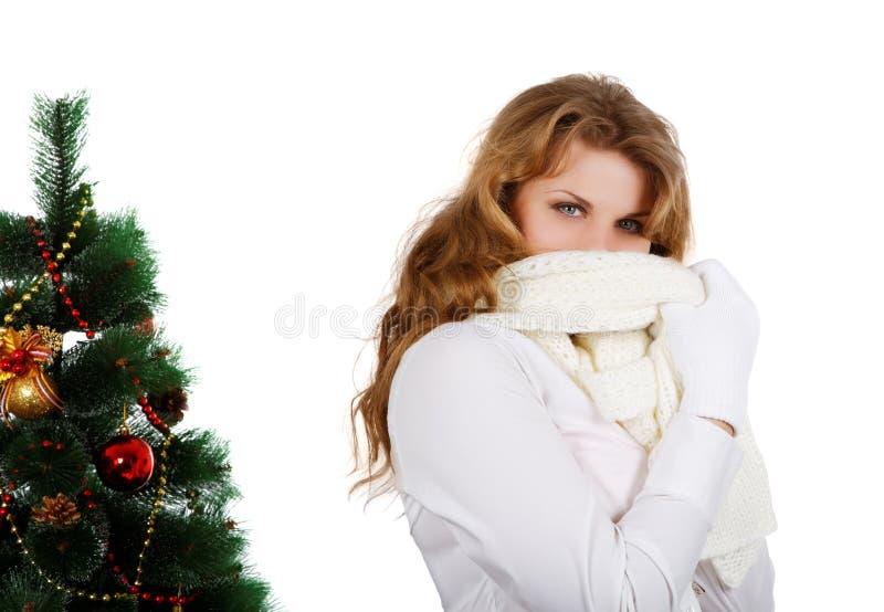 Meisje in sjaal en gebreide handschoenen stock afbeelding