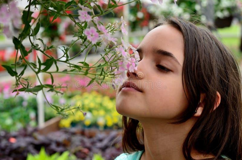 Meisje smellswith bloemen in een tuin royalty-vrije stock foto's