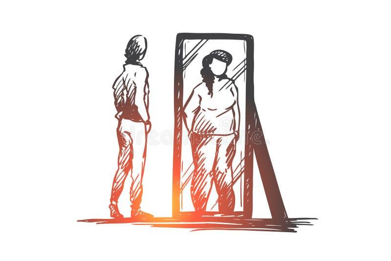 Meisje, spiegel, vervormd lichaam, gewichtsconcept Hand getrokken geïsoleerde vector royalty-vrije illustratie