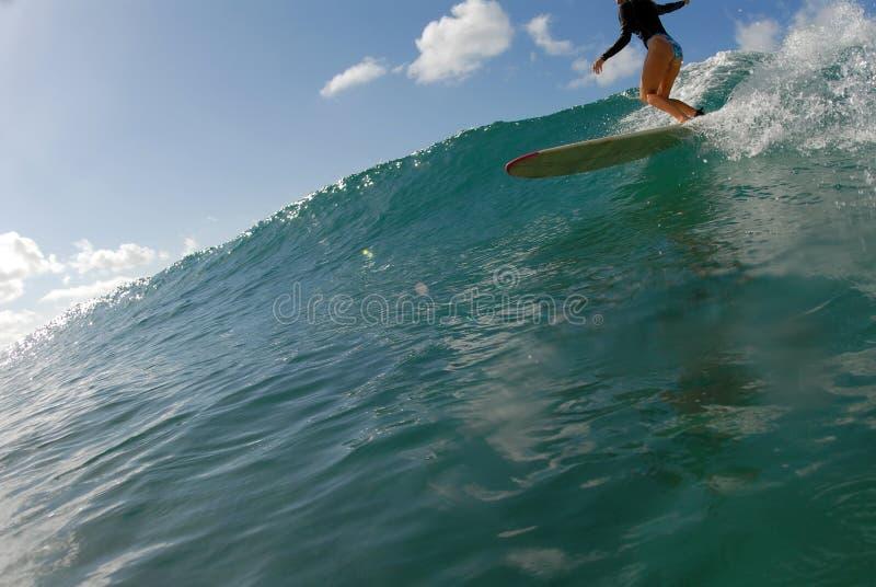 Meisje surfer royalty-vrije stock foto's