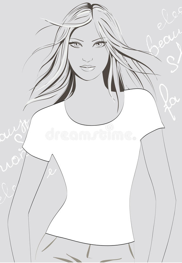 Meisje in t-shirt stock illustratie