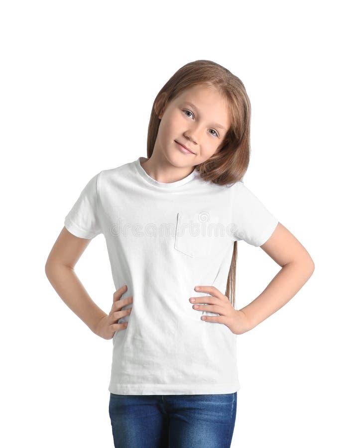 Meisje in t-shirt op witte achtergrond Model voor ontwerp royalty-vrije stock foto's
