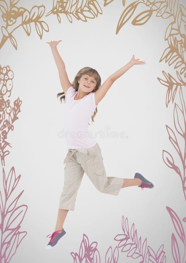 Meisje tegen grijze achtergrond het springen en aardpatronen stock illustratie
