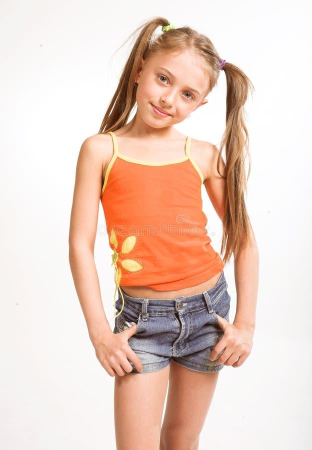 Meisje in toevallige kleding royalty-vrije stock foto's