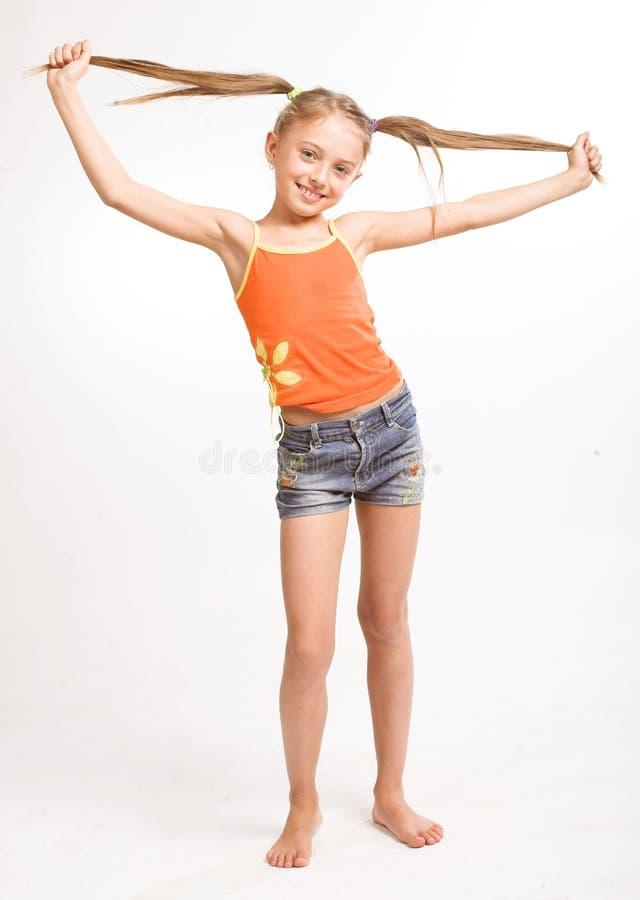 Meisje in toevallige kleding royalty-vrije stock afbeelding