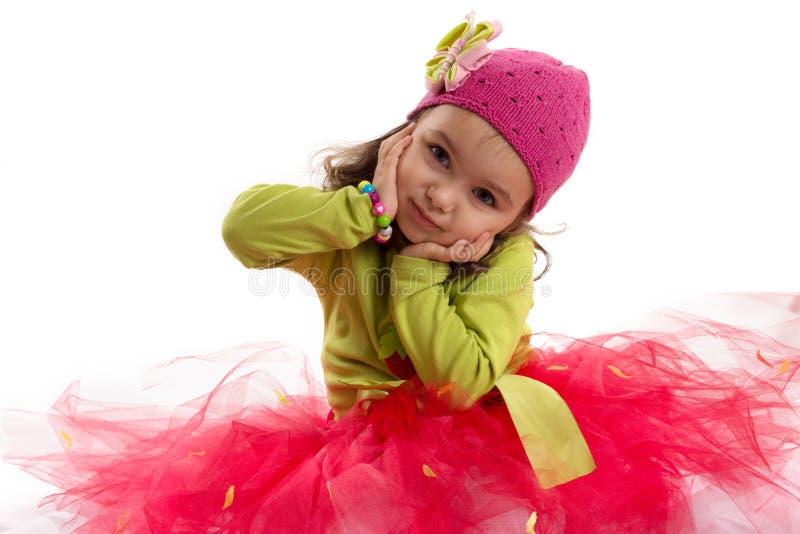 Meisje in tutu en hoed met vlinder royalty-vrije stock afbeeldingen