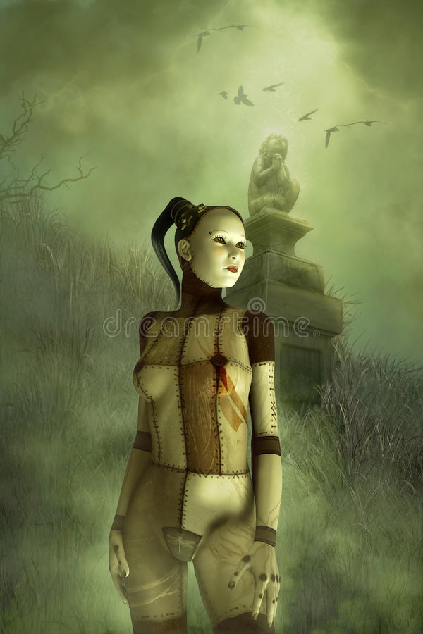 Meisje van de fantasie het gotische marionet stock illustratie