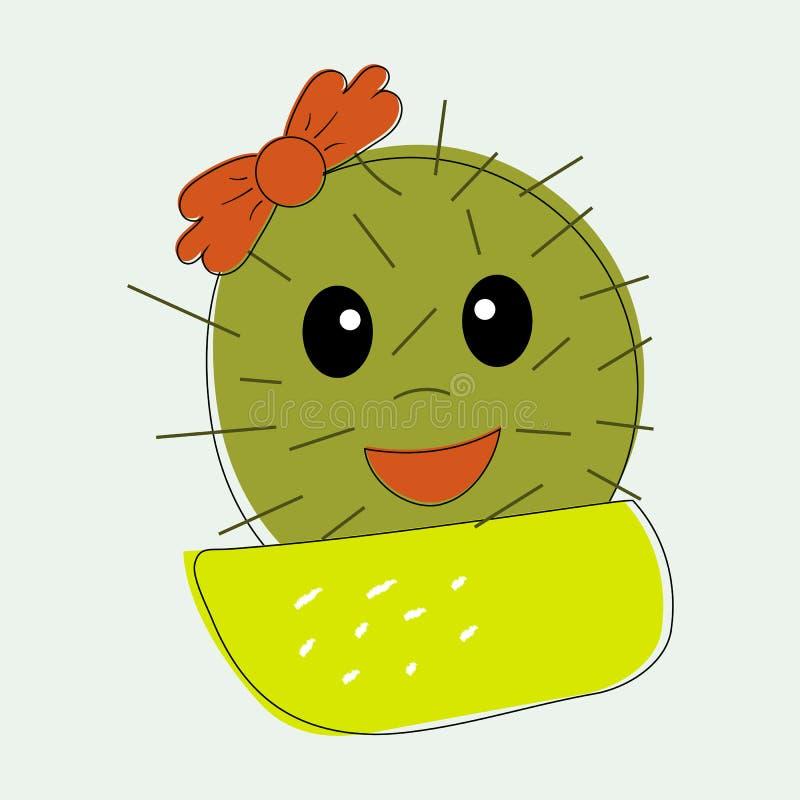 Meisje van de pret het eenvoudige naïeve leuke cactus met rood de boogbloem op het hoofd in gele pot Voor decoratie van kinderent stock illustratie