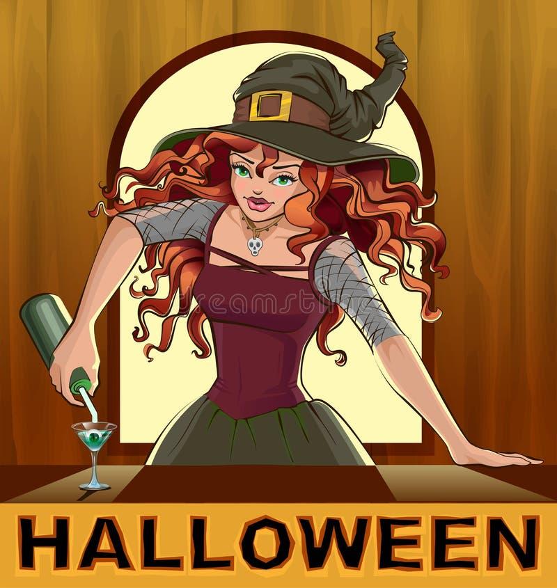 Meisje van de roodharige giet het mooie mooie heks cocktails Halloween stock illustratie