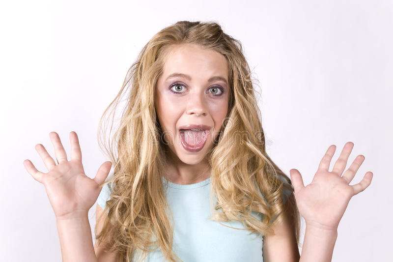 Meisje van de uitdrukking exicited stock fotografie