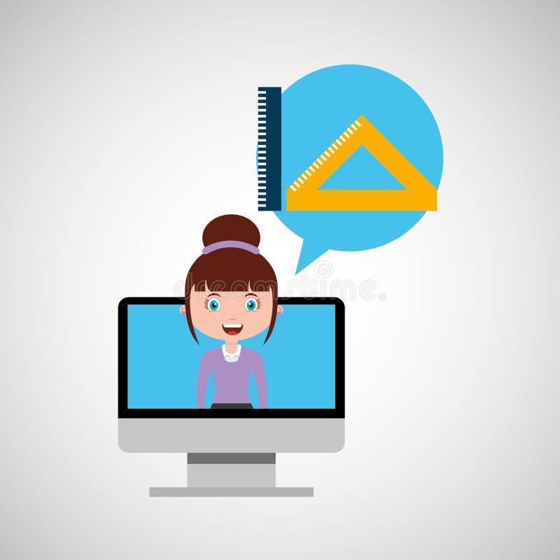 Meisje van het het onderwijs het online ontwerp van de hulpmiddelenmeetkunde royalty-vrije illustratie