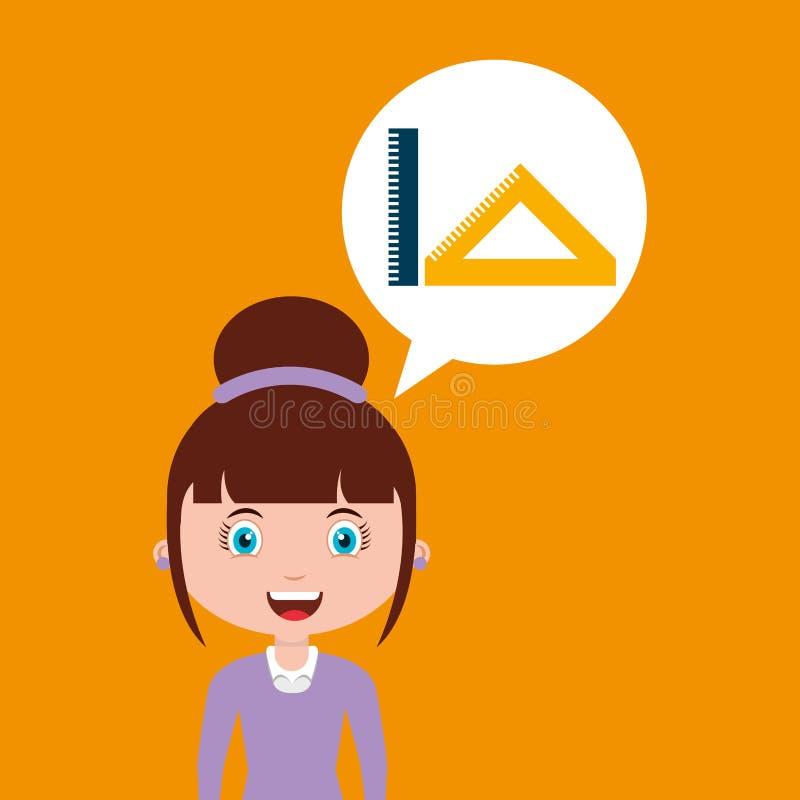 Meisje van het het onderwijs het online ontwerp van de hulpmiddelenmeetkunde stock illustratie