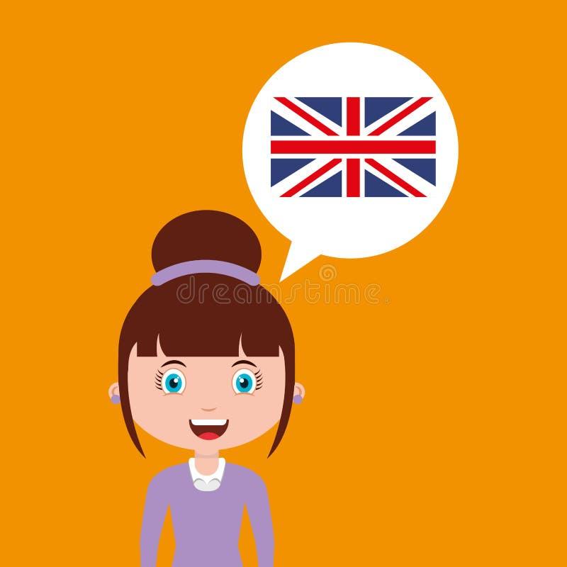 Meisje van het het onderwijs het online ontwerp van Engeland stock illustratie