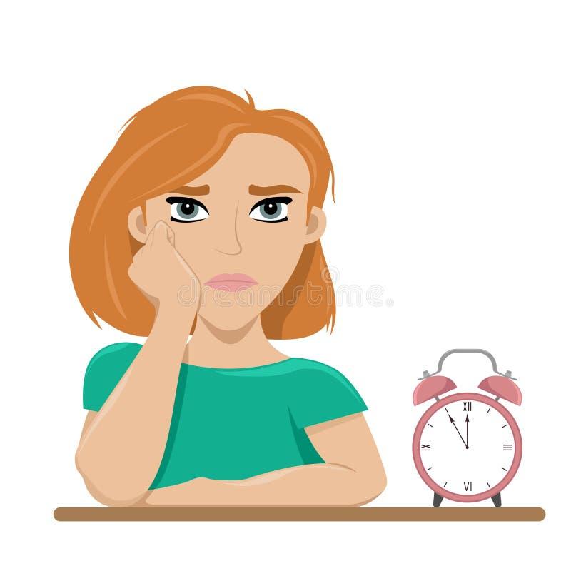 Meisje van het wachten wordt vermoeid die verveling Lang wacht Vlakke vectorillustratie stock illustratie