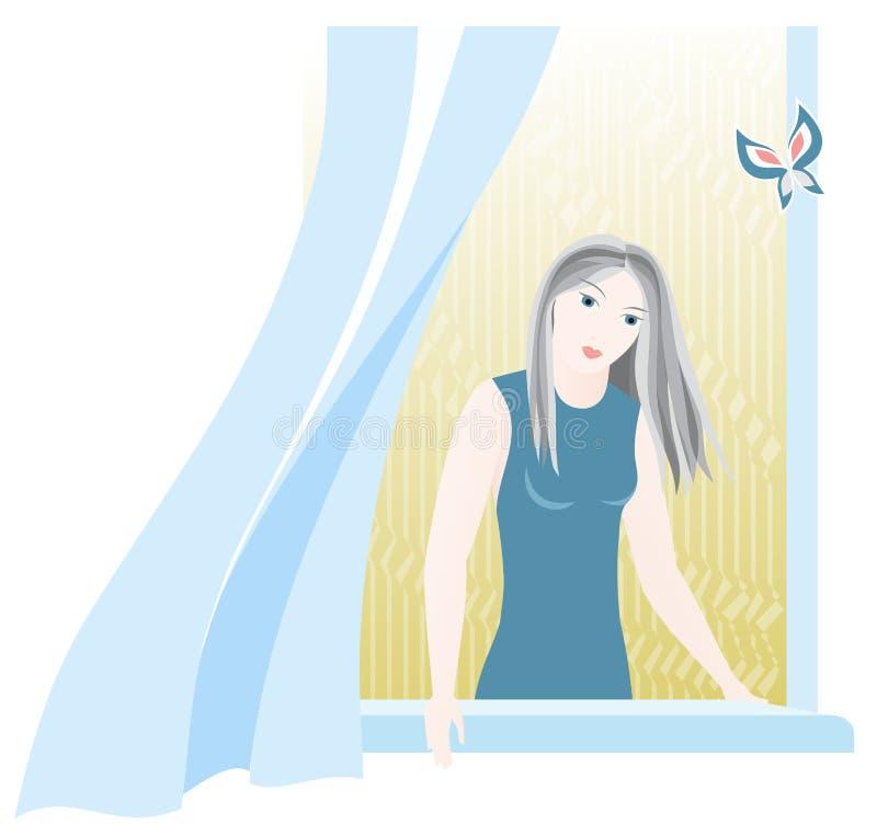 Meisje in venster vector illustratie