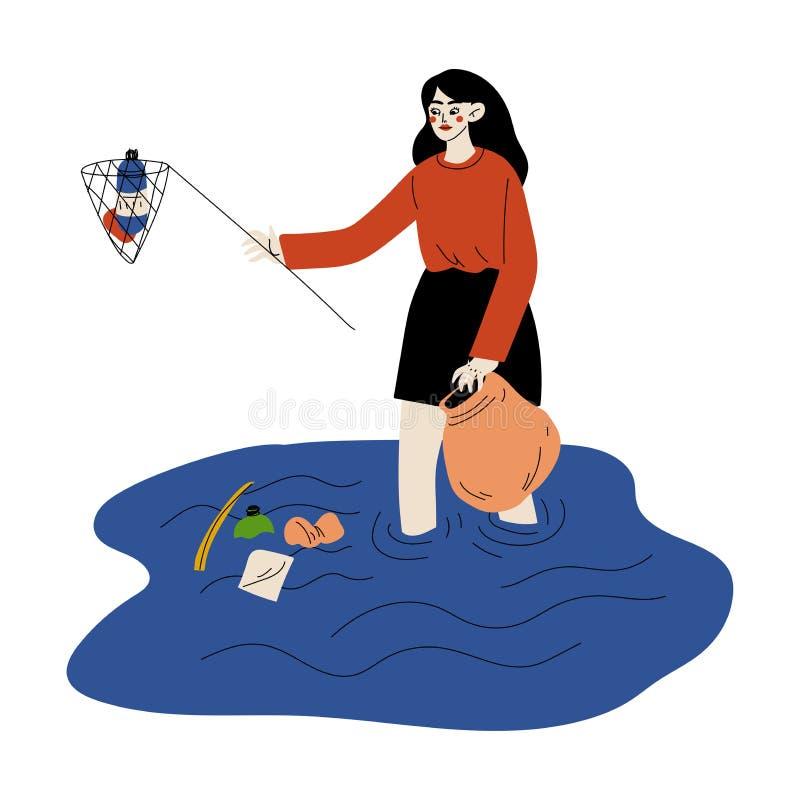 Meisje verzamelt afval en plastic afval in water, damesvrijwilliger die afval opruimt in rivieren of bij honden, vrijwilliger royalty-vrije illustratie