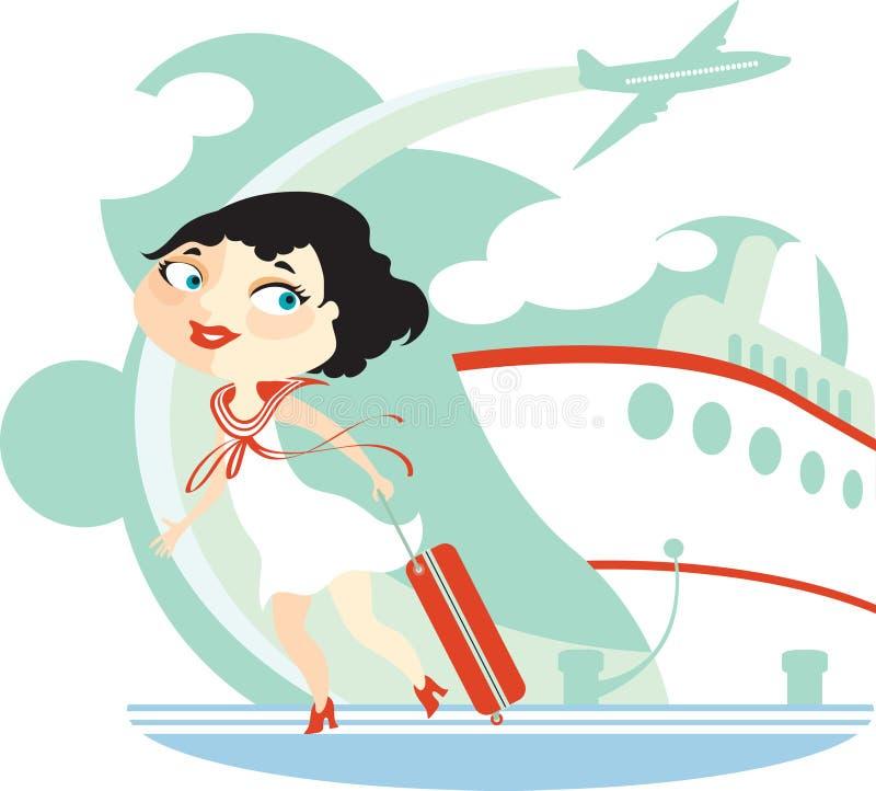 Meisje, vliegtuig, voering vector illustratie