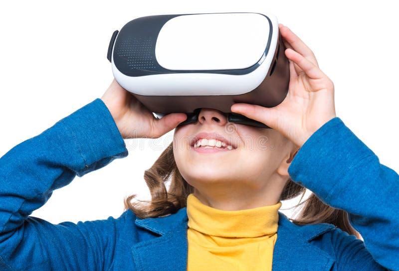 Meisje in VR-glazen royalty-vrije stock foto