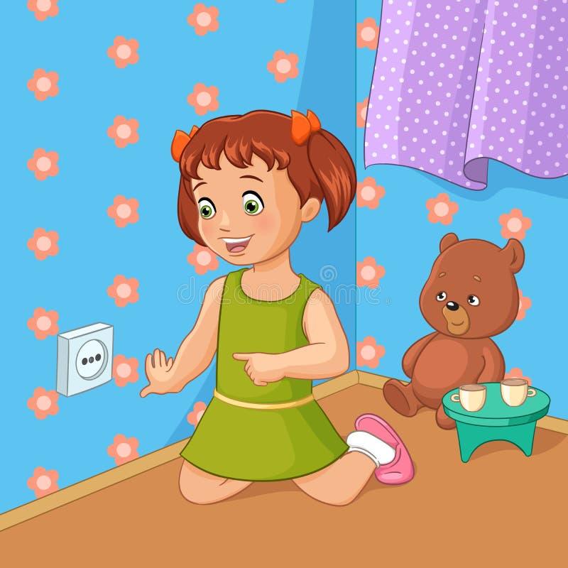 Meisje wat betreft contactdoos Vector illustratie royalty-vrije illustratie