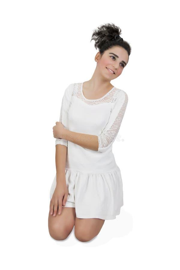 Meisje in witte kleding stock foto's