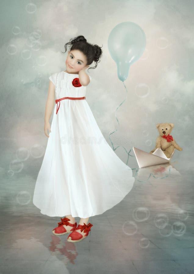 Meisje in witte kleding royalty-vrije stock foto's