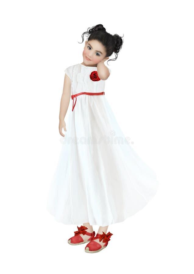 Meisje in witte kleding royalty-vrije stock afbeelding