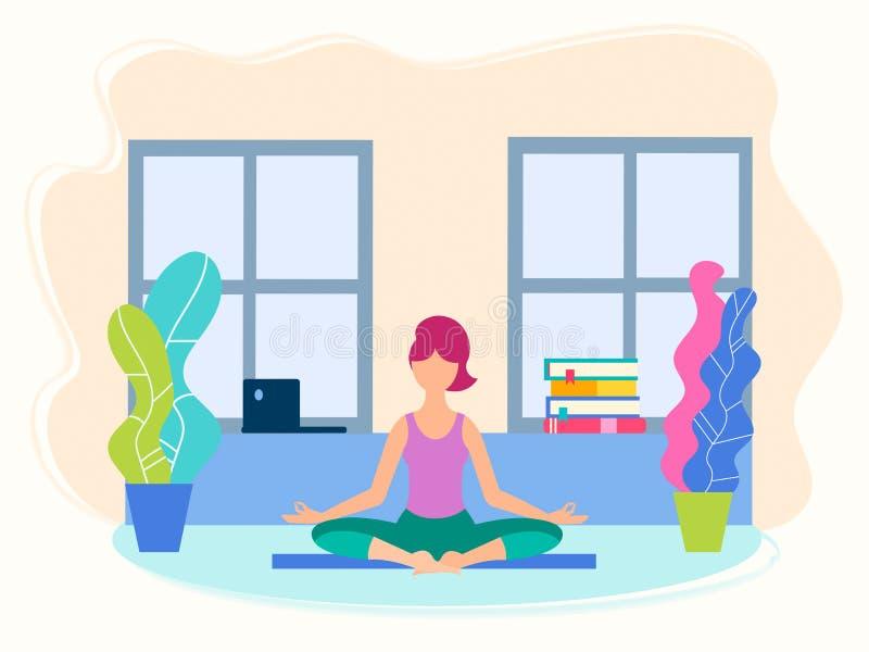 Meisje in yogapositie in haar ruimte stock illustratie