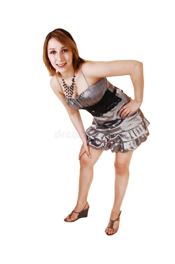 Meisje in zilveren kleding. stock foto's