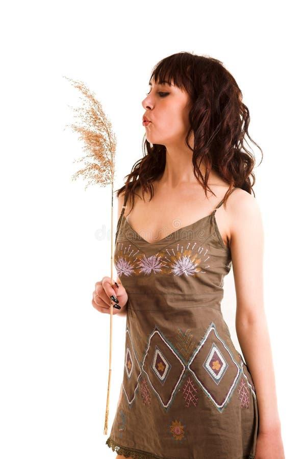 Meisje in zon-kleding royalty-vrije stock foto