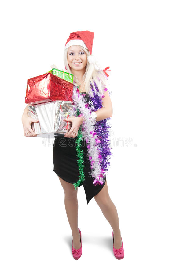Meisje in zwart kleding het vieren Nieuwjaar royalty-vrije stock afbeelding