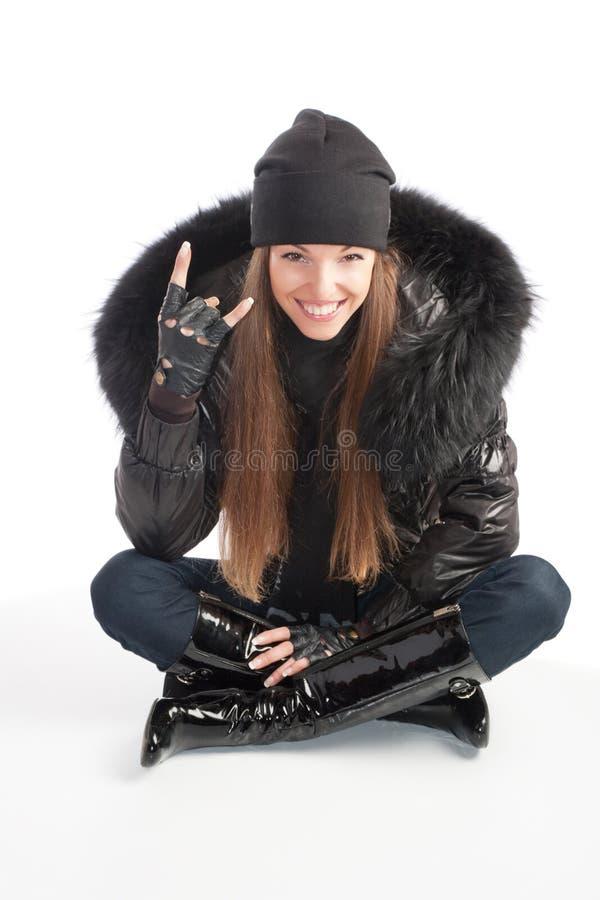 Meisje in zwarte kleren royalty-vrije stock foto's