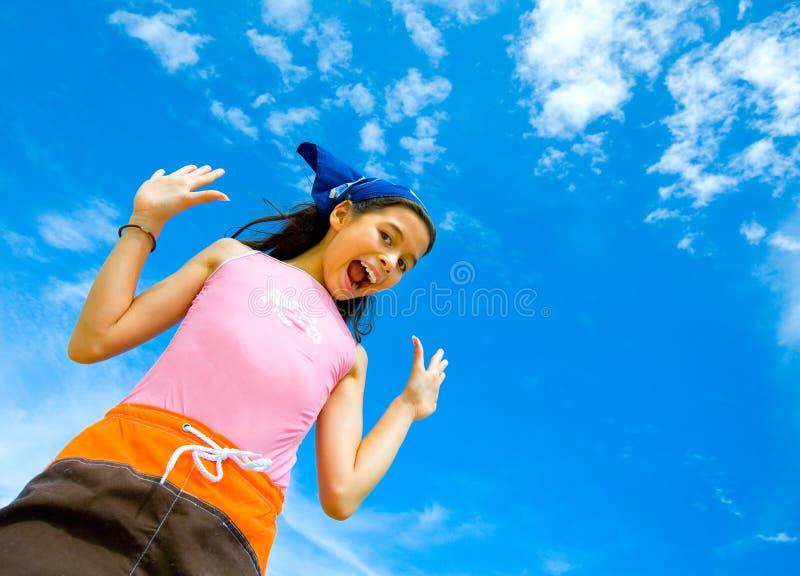 Meisje in zwemmend vrolijk en gelukkig kostuum royalty-vrije stock foto