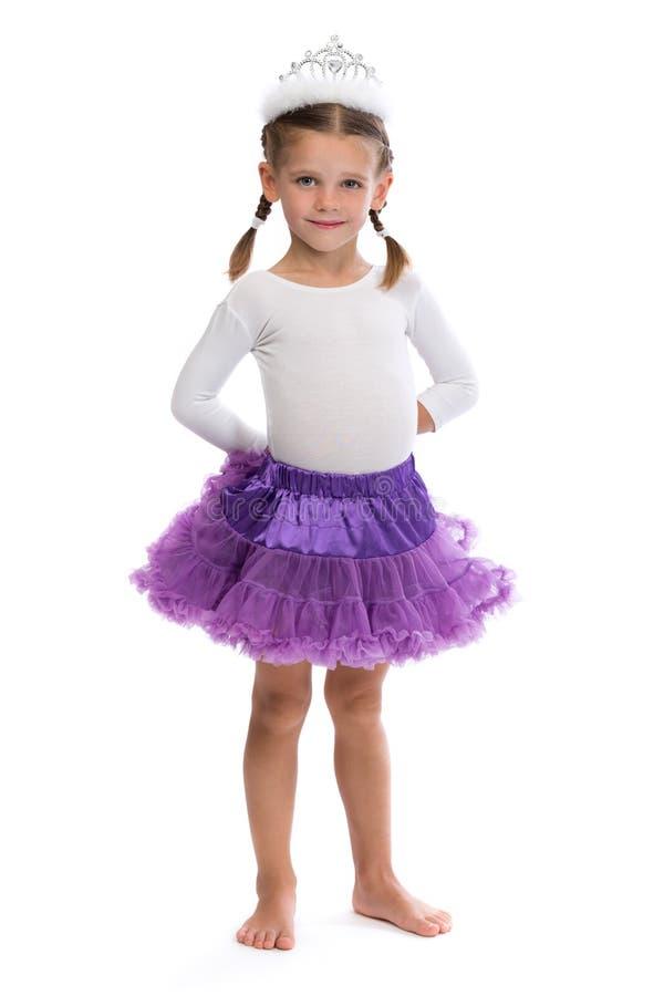 Meisjeballerina in de corona royalty-vrije stock foto's