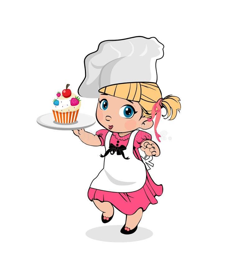 Meisjechef-kok met Cupcake op Plaat, Jonge geitjesmenu stock illustratie