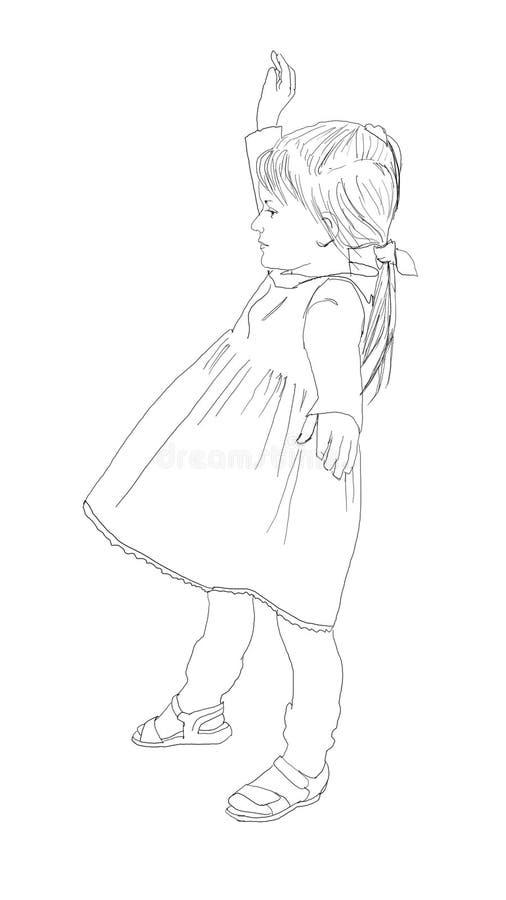 Meisjeengel met vleugelsillustratie vector illustratie