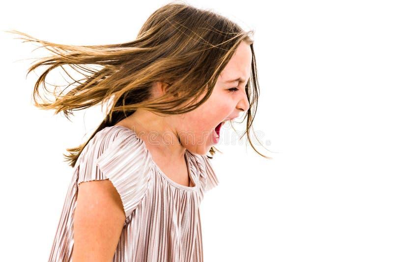 Meisjekind die, en met slechte manieren schreeuwen gillen schreeuwen royalty-vrije stock foto's