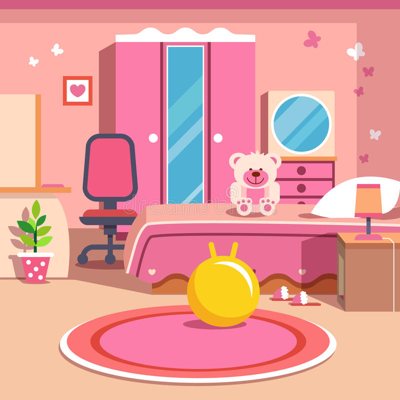 Meisjes al roze slaapkamerbinnenland vector illustratie