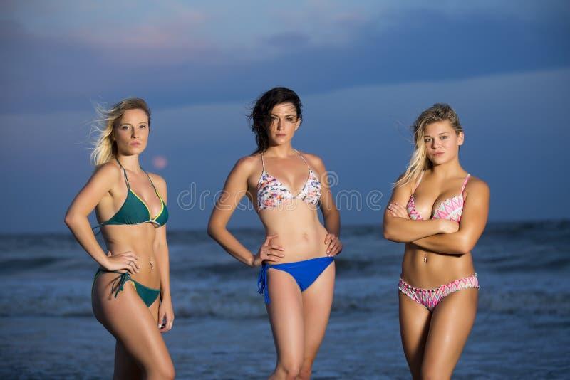 Meisjes in bikinis op strand stock afbeelding