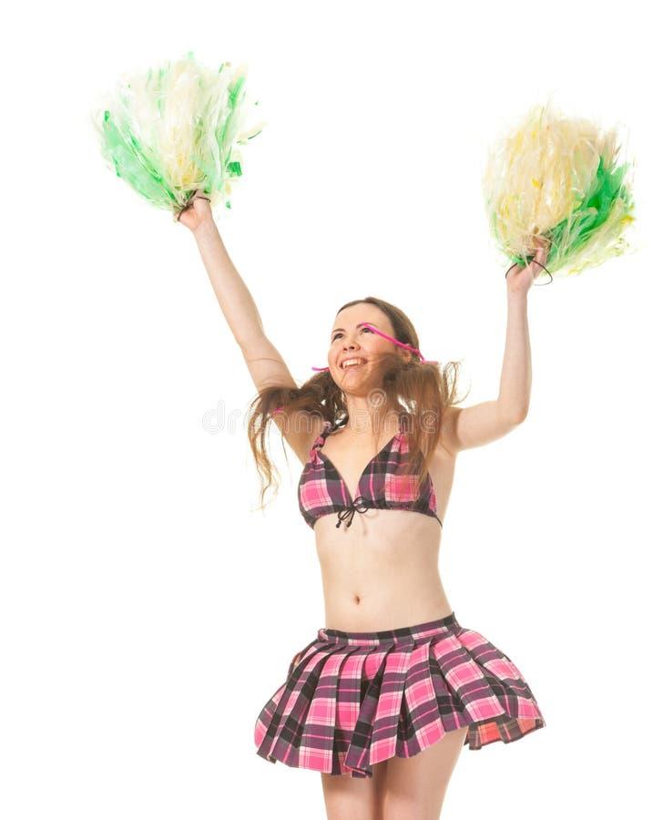Meisjes cheerleader sprong royalty-vrije stock afbeeldingen