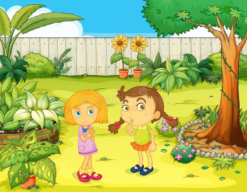 Meisjes in de tuin vector illustratie