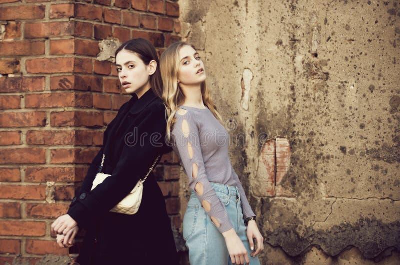 Meisjes dichtbij baksteen geweven muur, schoonheid en manier stock foto's