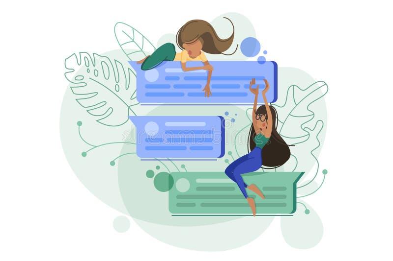 Meisjes die bespreking en mededeling babbelen stock illustratie