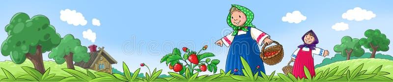 Meisjes die bessen plukken royalty-vrije illustratie