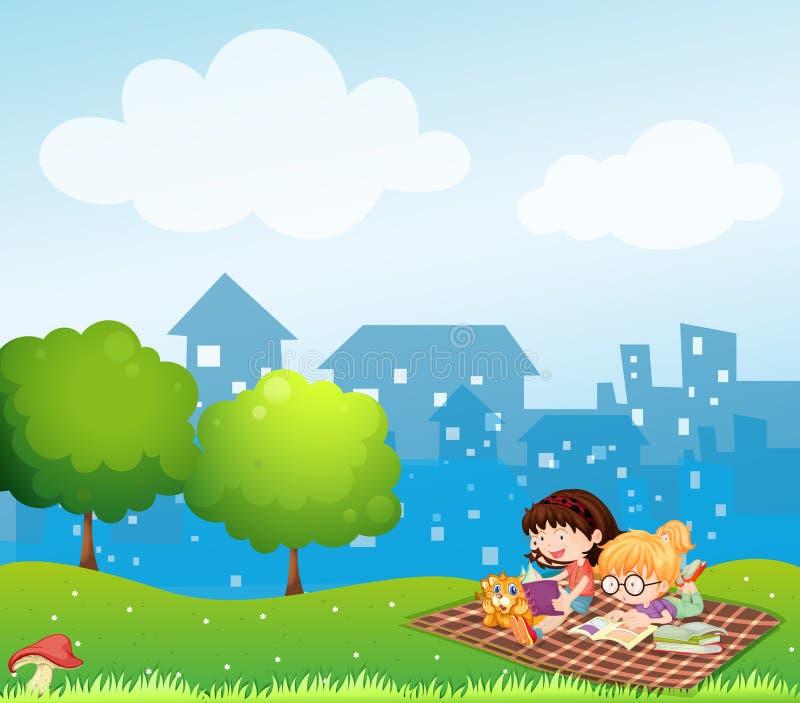 Meisjes die bij de heuvel over het dorp lezen royalty-vrije illustratie