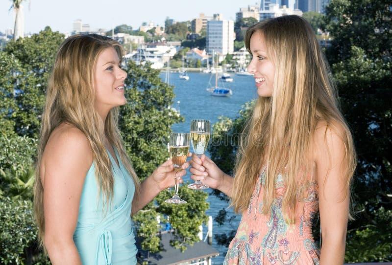 Meisjes die champagne drinken stock fotografie