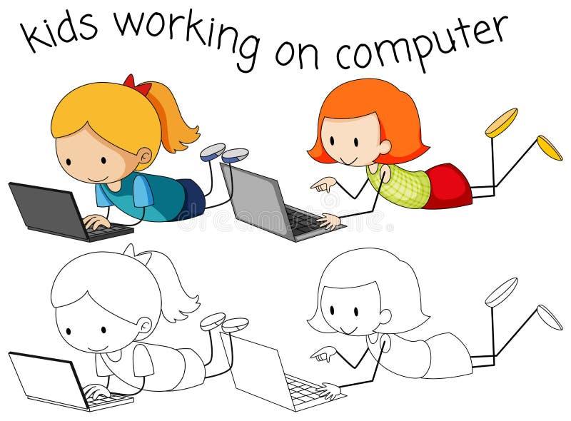 Meisjes die computer op witte achtergrond met behulp van vector illustratie