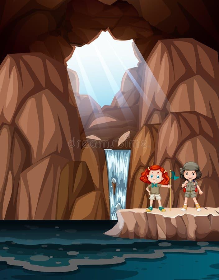 Meisjes die een hol met waterval onderzoeken royalty-vrije illustratie