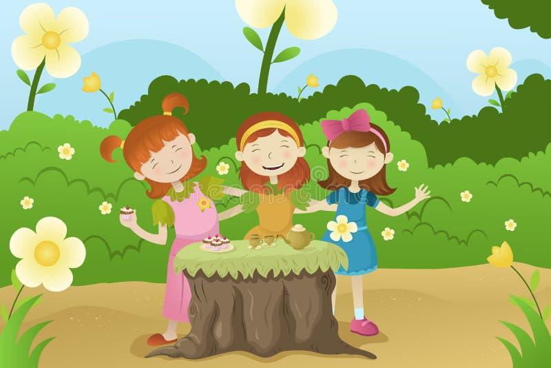 Meisjes die een tuinpartij hebben royalty-vrije illustratie